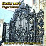 Foto pintu gerbang besi tempa klasik mewah dengan model ornamen 3d